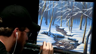 Acrylic Landscape Painting of a Winter Waterfall and Forest - Time-lapse - Artist Timothy Stanford
