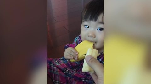 Sweet Toddler Girl Prefers Banana Peel Over Actual Banana