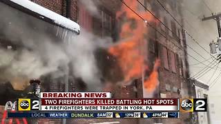 2 firefighters dead after building on fire collapses - Video