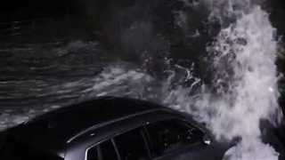 Waves Smash Cars Against Sea Wall in Broadstairs