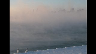 Polar Vortex Causes Sea Fog to Rise From Lake Michigan