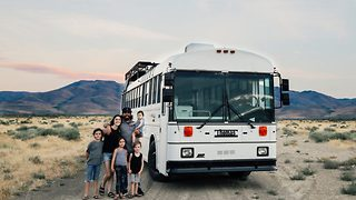 Family Moves Into School Bus Turned Into Mini-Mobile Home - Video