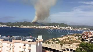 Forest fire burns on Ibiza