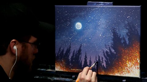 Acrylic Landscape Painting of A Starry Sky and Fire - Time Lapse - Artist Timothy Stanford