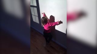 """""""Adorable Toddler Loves Her Shadow"""""""