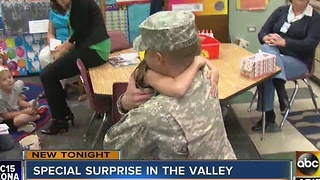 Soldier surprises daughter, comes home for holiday week