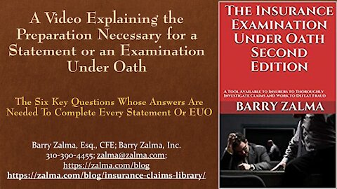 A Video Explaining the Preparation Necessary for a Statement or an Examination Under Oath