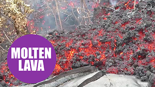 Geologists collecting lava from inside live volcanoes