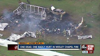 Elderly woman dead, man severely burned after fire destroys Pasco County mobile home