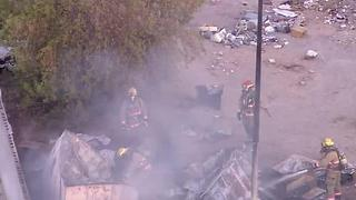 Fire at mobile home park near Nellis, Twain - Video