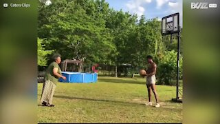 Mom amazes son with spot-on basketball skills