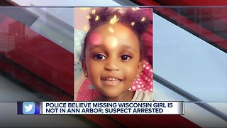 Police believe missing Wisconsin girl is not in Ann Arbor; suspect arrested