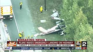 1 adult, 2 kids involved in small plane emergency landing - Video