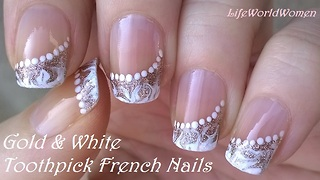 Gold & white side French manicure: Elegant drag marble nail art by toothpick - Video