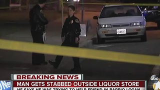 Man stabbed outside of liquor store - Video