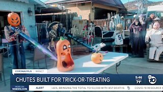 Halloween lovers turns to candy chutes to make trick-or-treating happen