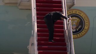 Biden Falls on Stairs Boarding Air Force One (Audio Enhanced)