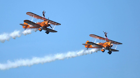 Awesome Aerosuperbatics Wingwalkers At Torbay Airshow in 4K
