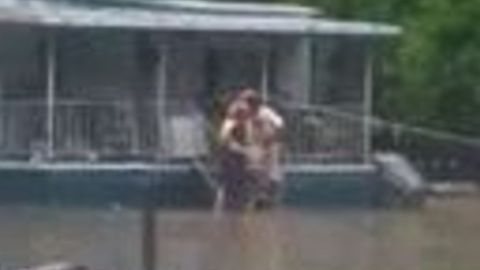 Firefighters Rescue Family From Their Flooded Home in Greenville