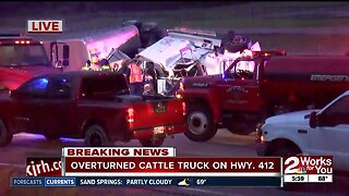 Truck carrying cattle overturns on Highway 412