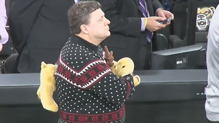 Oakland's Greg Kampe wears the best Ugly Christmas Sweater EVER - Video