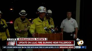 Officials hold news conference on Lilac Fire - Video