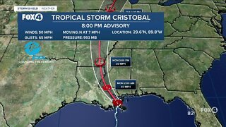 Tropical Storm Cristobal now over land