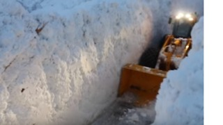 Snowplow Digs Route Through Huge Banks of Snow in Southeastern France - Video