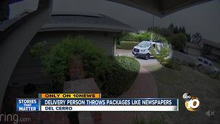 Delivery person throws packages like newspapers - Video