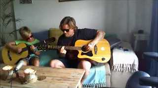 Father and Son Play Acoustic Guitar Duet - Video