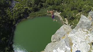 Adventurous Daredevil Jumps From 111 Feet Cliff Into Water - Video