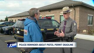Reminder for pistol permit holders about deadline - Video