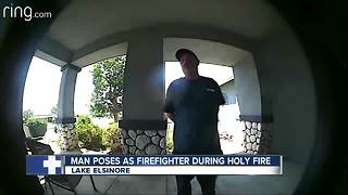 Man suspected of posing as firefighter during Holy Fire sought