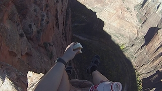 Lunch on the edge of a 2,600 foot canyon! - Video