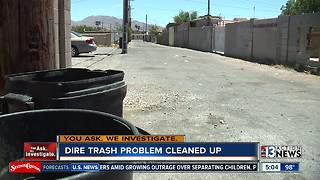 UPDATE: rotting trash picked up near downtown Las Vegas - Video