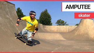 Amputee Skateboarder hurtling down hill at breakneck speed - Video