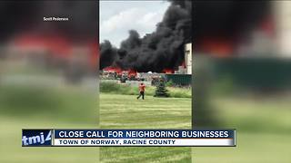 50 local fire departments battle recycling plant blaze - Video