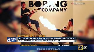 Lawmaker introduces bill to ban sale of Musk's flamethrower - Video