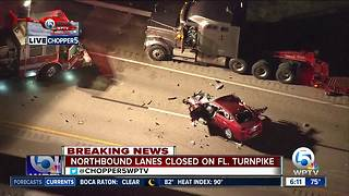 Florida's Turnpike northbound closed in Martin County for semi crash - Video
