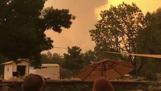 Flames From Carr Fire Tower Over Redding, California - Video