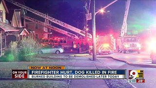 Firefighter rescued after falling through floor