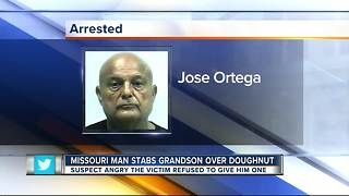Man charged with stabbing grandson after doughnut argument - Video