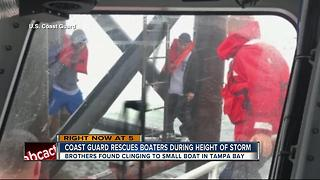 Coast Guard rescues boaters clinging to range light in Tampa Bay - Video