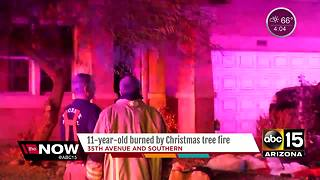 Phoenix child burned by Christmas tree fire - Video