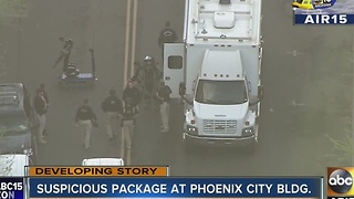 Suspicious package at downtown Phoenix building - Video