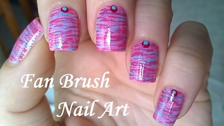 Pastel Blue &Pink Fan Brush Striped Nails Design