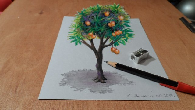 How To Draw A 3d Mango Tree