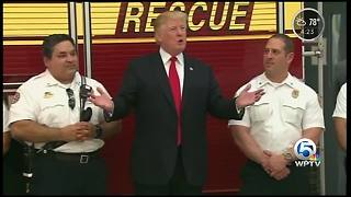 President Trump speaks at a West Palm Beach fire department - Video