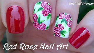 Red & white rose nail art using acrylic paint - Video