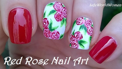 Red & white rose nail art using acrylic paint
